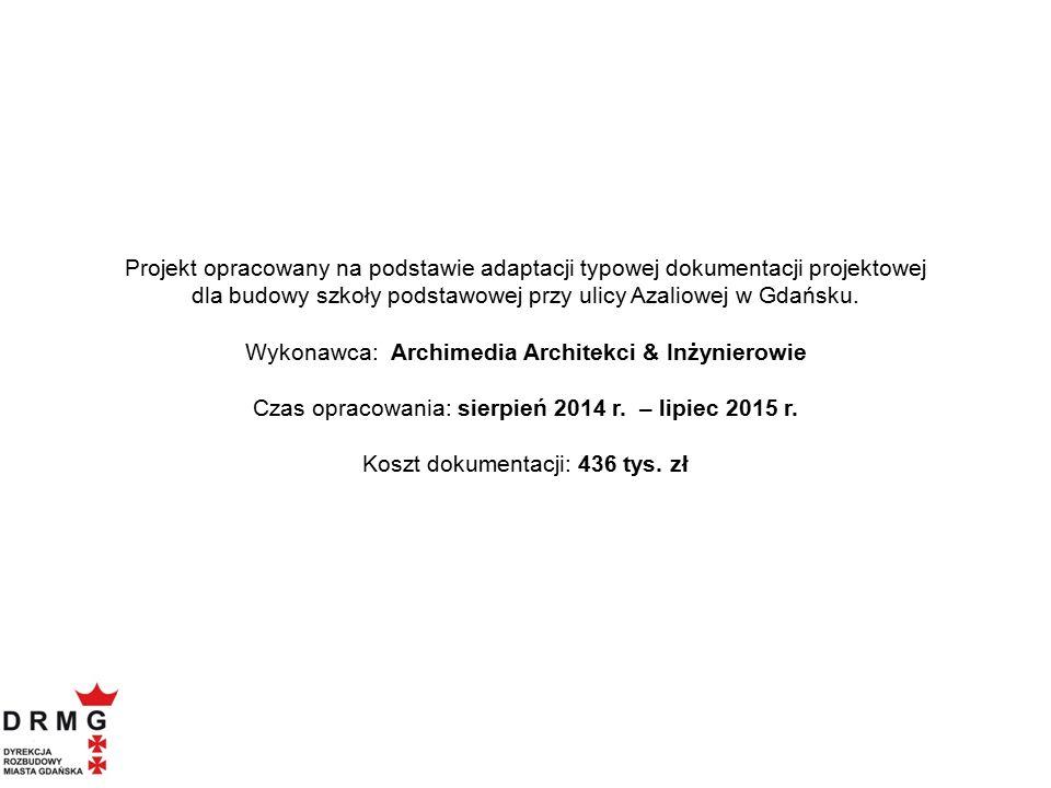 Projekt opracowany na podstawie adaptacji typowej dokumentacji projektowej dla budowy szkoły podstawowej przy ulicy Azaliowej w Gdańsku. Wykonawca: Ar