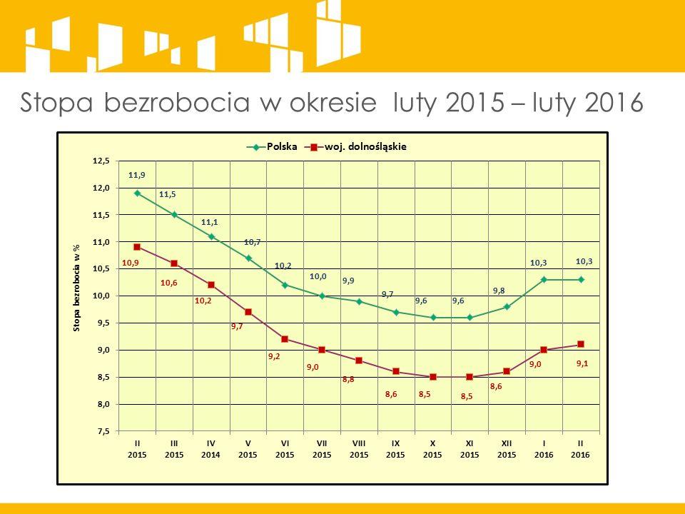 Stopa bezrobocia w okresie luty 2015 – luty 2016