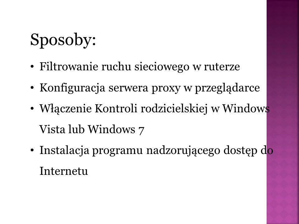 Filtrowanie ruchu sieciowego w ruterze Konfiguracja serwera proxy w przeglądarce Włączenie Kontroli rodzicielskiej w Windows Vista lub Windows 7 Instalacja programu nadzorującego dostęp do Internetu Sposoby: