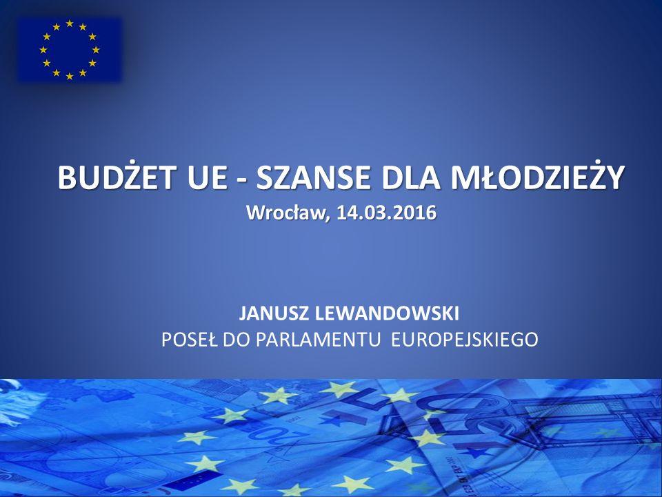 BUDŻETUE - SZANSE DLA MŁODZIEŻY BUDŻET UE - SZANSE DLA MŁODZIEŻY Wrocław, 14.03.2016 JANUSZ LEWANDOWSKI POSEŁ DO PARLAMENTU EUROPEJSKIEGO