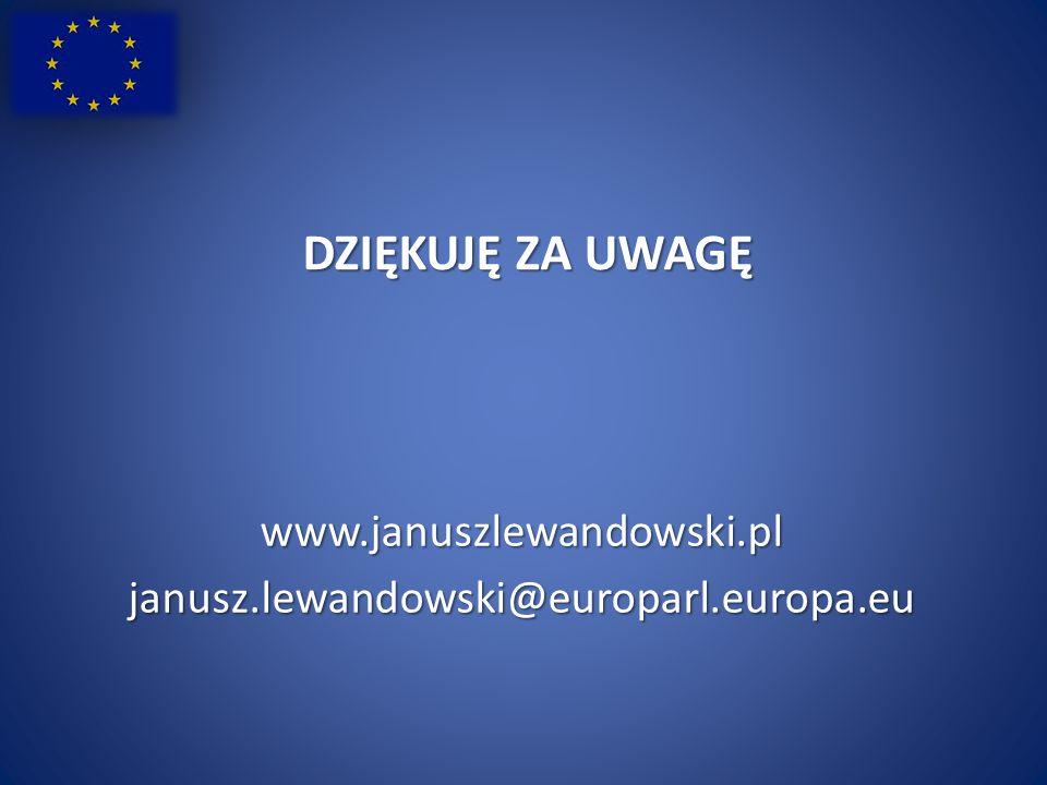 DZIĘKUJĘ ZA UWAGĘ www.januszlewandowski.pljanusz.lewandowski@europarl.europa.eu