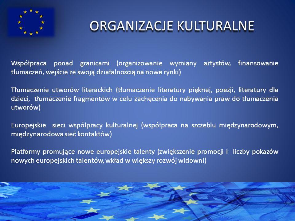 ORGANIZACJE KULTURALNE Współpraca ponad granicami (organizowanie wymiany artystów, finansowanie tłumaczeń, wejście ze swoją działalnością na nowe rynki) Tłumaczenie utworów literackich (tłumaczenie literatury pięknej, poezji, literatury dla dzieci, tłumaczenie fragmentów w celu zachęcenia do nabywania praw do tłumaczenia utworów) Europejskie sieci współpracy kulturalnej (współpraca na szczeblu międzynarodowym, międzynarodowa sieć kontaktów) Platformy promujące nowe europejskie talenty (zwiększenie promocji i liczby pokazów nowych europejskich talentów, wkład w większy rozwój widowni)