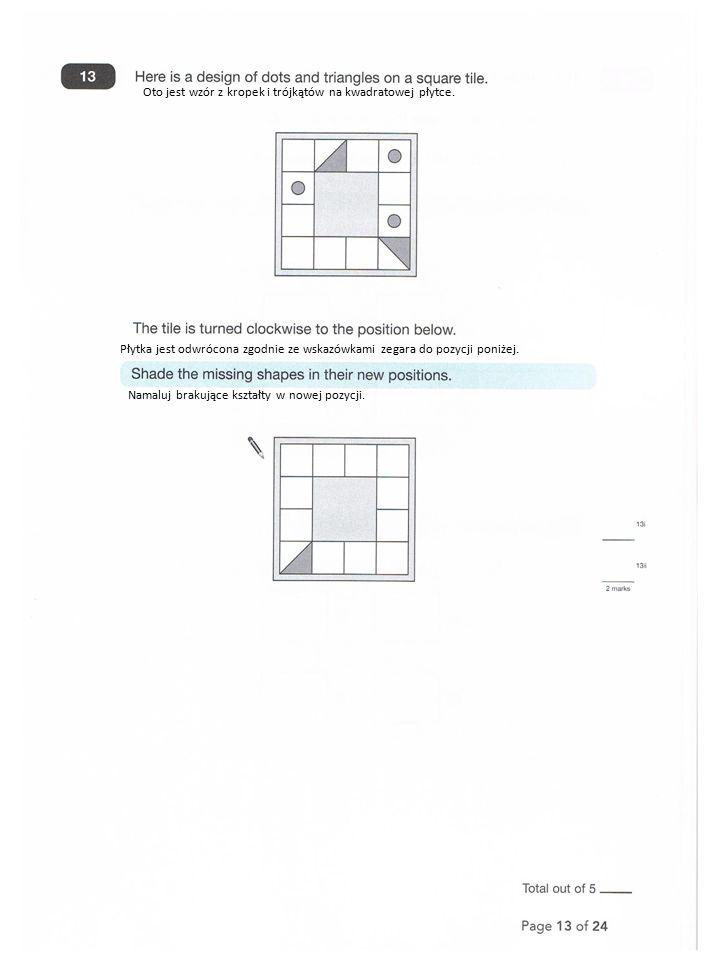 Oto jest wzór z kropek i trójkątów na kwadratowej płytce.