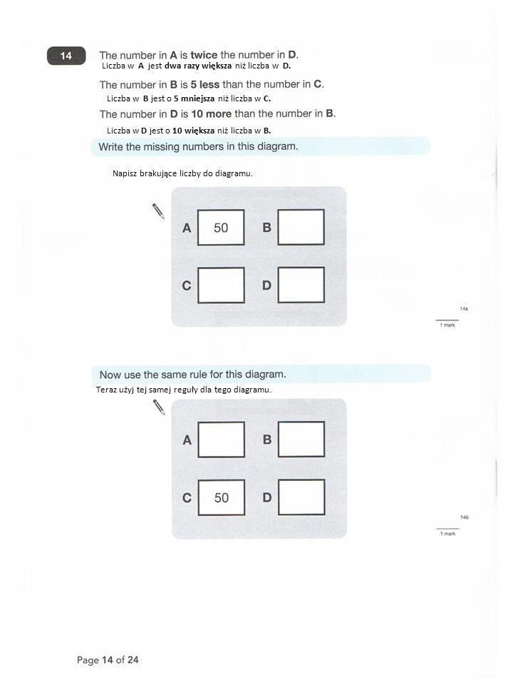 Liczba w A jest dwa razy większa niż liczba w D. Liczba w B jest o 5 mniejsza niż liczba w C.