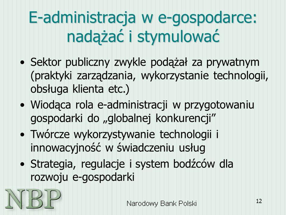 """12 E-administracja w e-gospodarce: nadążać i stymulować Sektor publiczny zwykle podążał za prywatnym (praktyki zarządzania, wykorzystanie technologii, obsługa klienta etc.) Wiodąca rola e-administracji w przygotowaniu gospodarki do """"globalnej konkurencji Twórcze wykorzystywanie technologii i innowacyjność w świadczeniu usług Strategia, regulacje i system bodźców dla rozwoju e-gospodarki"""