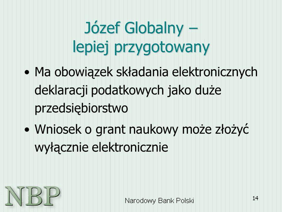 14 Józef Globalny – lepiej przygotowany Ma obowiązek składania elektronicznych deklaracji podatkowych jako duże przedsiębiorstwo Wniosek o grant naukowy może złożyć wyłącznie elektronicznie