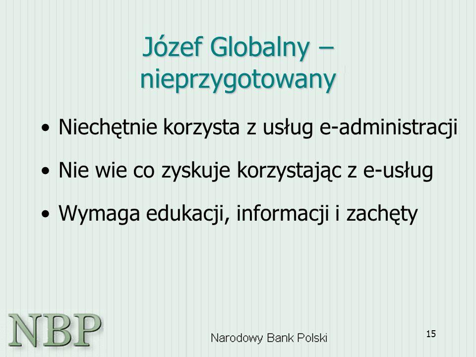 15 Józef Globalny – nieprzygotowany Niechętnie korzysta z usług e-administracji Nie wie co zyskuje korzystając z e-usług Wymaga edukacji, informacji i zachęty