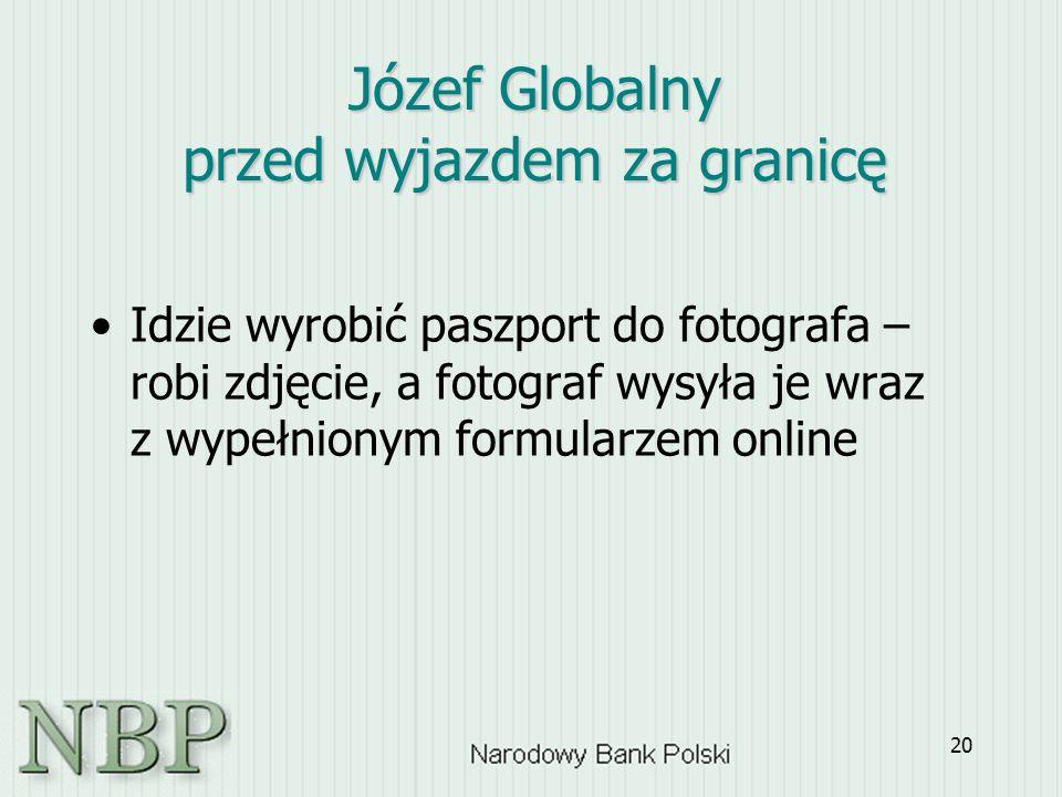 20 Idzie wyrobić paszport do fotografa – robi zdjęcie, a fotograf wysyła je wraz z wypełnionym formularzem online Józef Globalny przed wyjazdem za granicę