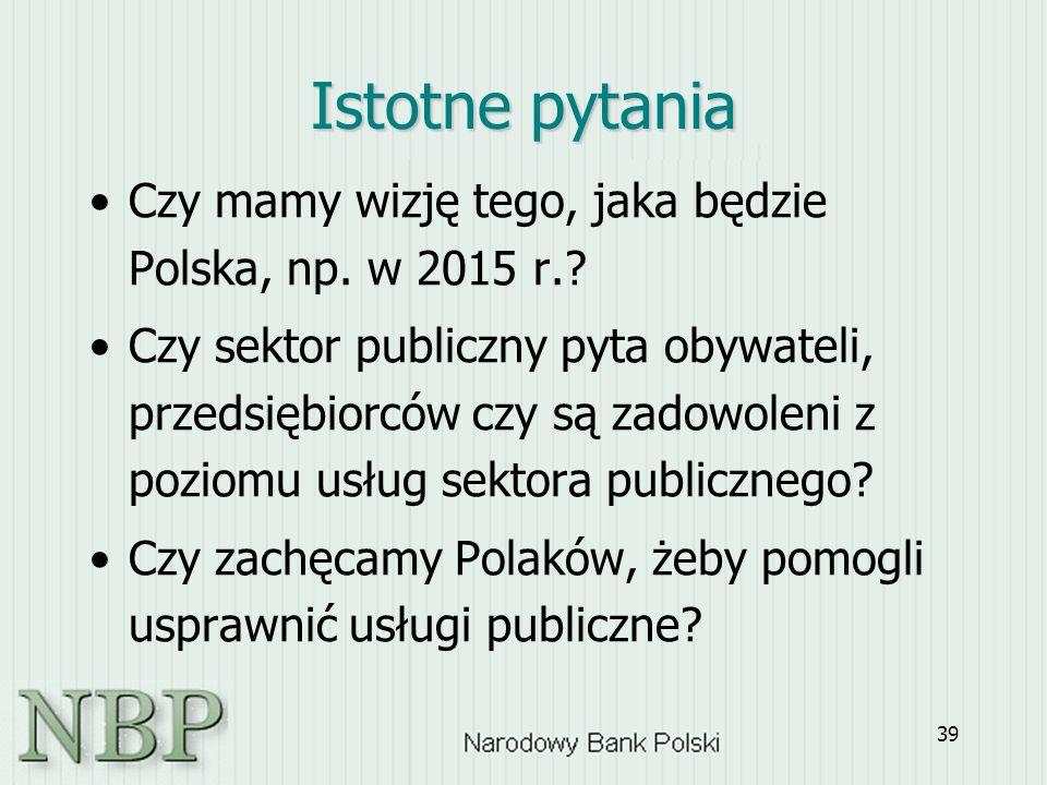 39 Istotne pytania Czy mamy wizję tego, jaka będzie Polska, np. w 2015 r.? Czy sektor publiczny pyta obywateli, przedsiębiorców czy są zadowoleni z po
