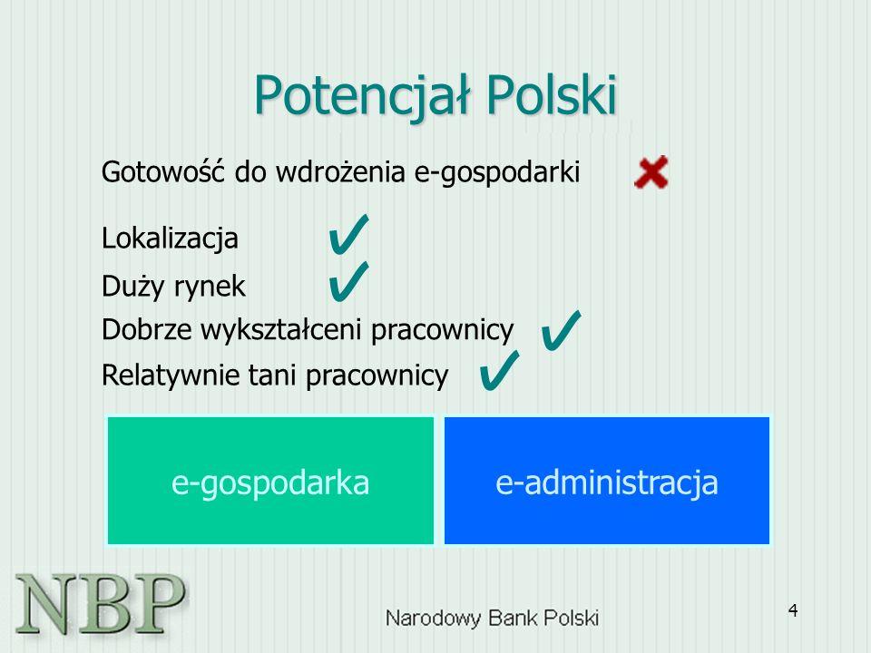 4 Potencjał Polski Gotowość do wdrożenia e-gospodarki Lokalizacja Duży rynek Dobrze wykształceni pracownicy Relatywnie tani pracownicy e-administracja