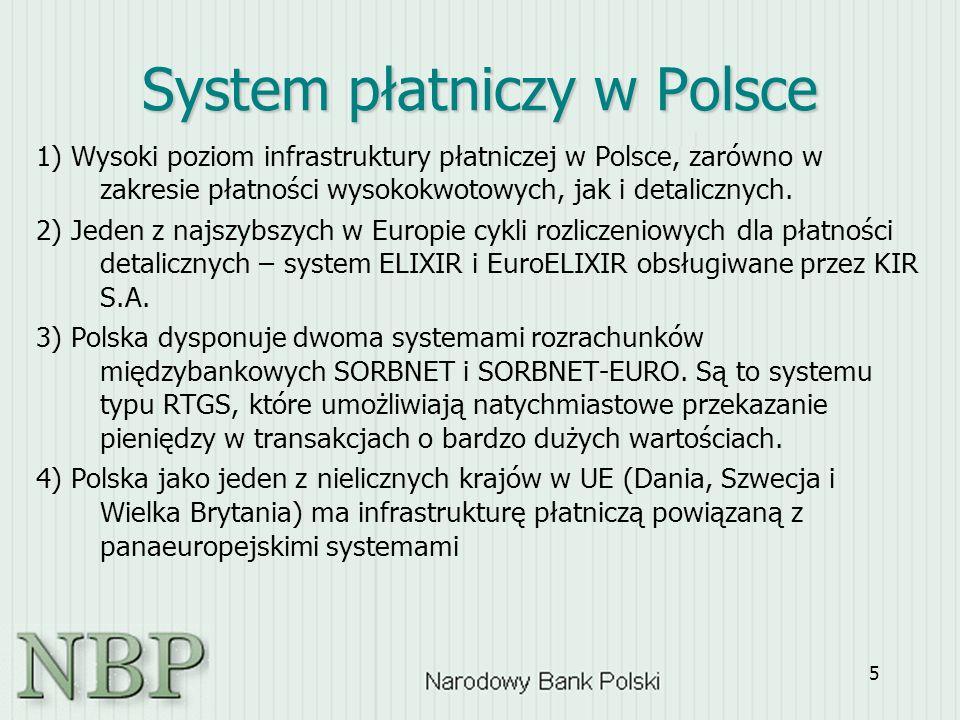 5 1) Wysoki poziom infrastruktury płatniczej w Polsce, zarówno w zakresie płatności wysokokwotowych, jak i detalicznych. 2) Jeden z najszybszych w Eur