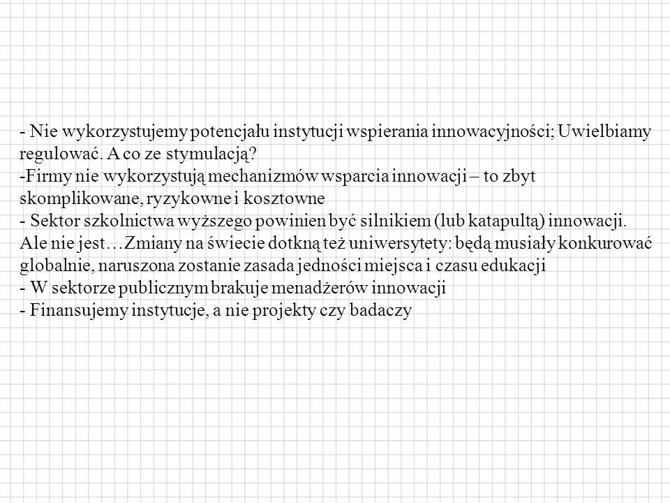 - Nie wykorzystujemy potencjału instytucji wspierania innowacyjności; Uwielbiamy regulować.