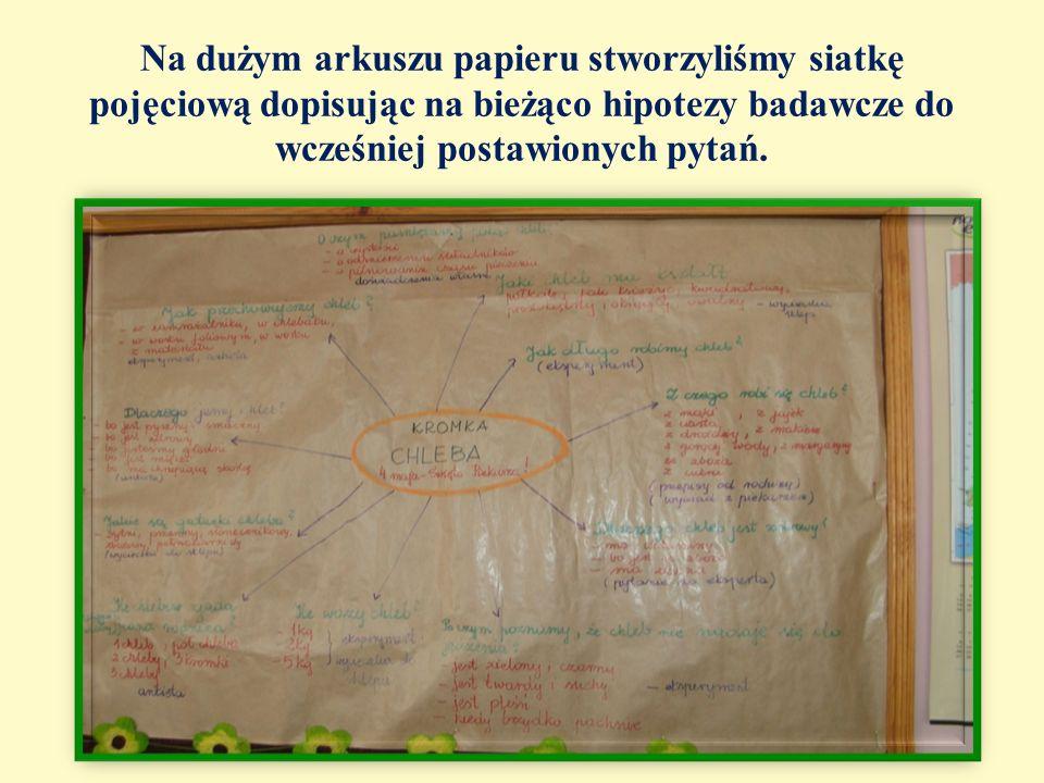 Na dużym arkuszu papieru stworzyliśmy siatkę pojęciową dopisując na bieżąco hipotezy badawcze do wcześniej postawionych pytań.