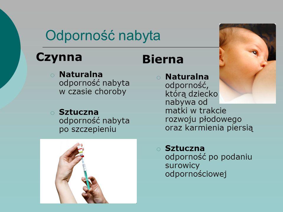 Bierna o Naturalna odporność, którą dziecko nabywa od matki w trakcie rozwoju płodowego oraz karmienia piersią o Sztuczna odporność po podaniu surowic