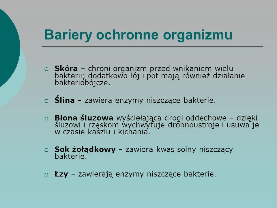 Bariery ochronne organizmu  Skóra – chroni organizm przed wnikaniem wielu bakterii; dodatkowo łój i pot mają również działanie bakteriobójcze.  Ślin