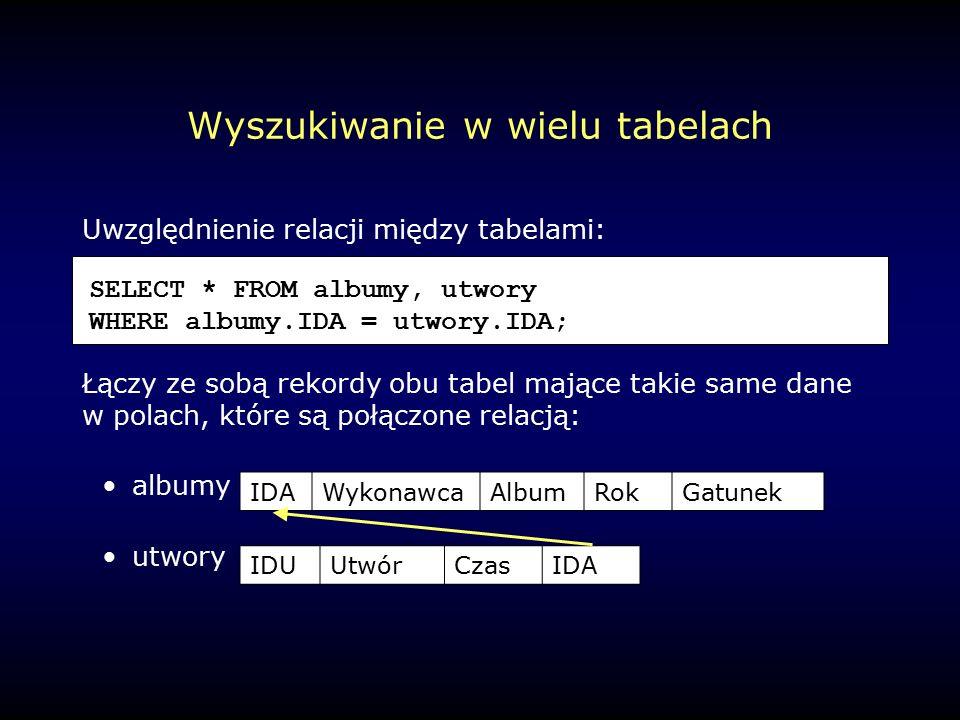 Wyszukiwanie w wielu tabelach Uwzględnienie relacji między tabelami: Łączy ze sobą rekordy obu tabel mające takie same dane w polach, które są połączone relacją: albumy utwory SELECT * FROM albumy, utwory WHERE albumy.IDA = utwory.IDA; IDAWykonawcaAlbumRokGatunek IDUUtwórCzasIDA