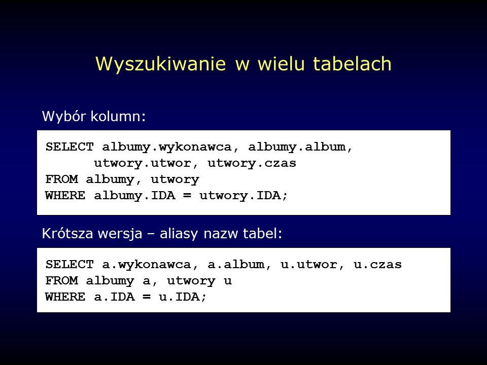 Wyszukiwanie w wielu tabelach Wybór kolumn: Krótsza wersja – aliasy nazw tabel: SELECT albumy.wykonawca, albumy.album, utwory.utwor, utwory.czas FROM albumy, utwory WHERE albumy.IDA = utwory.IDA; SELECT a.wykonawca, a.album, u.utwor, u.czas FROM albumy a, utwory u WHERE a.IDA = u.IDA;