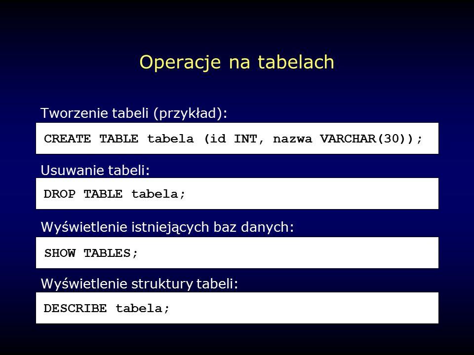 Operacje na tabelach Tworzenie tabeli (przykład): Usuwanie tabeli: Wyświetlenie istniejących baz danych: Wyświetlenie struktury tabeli: CREATE TABLE tabela (id INT, nazwa VARCHAR(30)); DROP TABLE tabela; SHOW TABLES; DESCRIBE tabela;