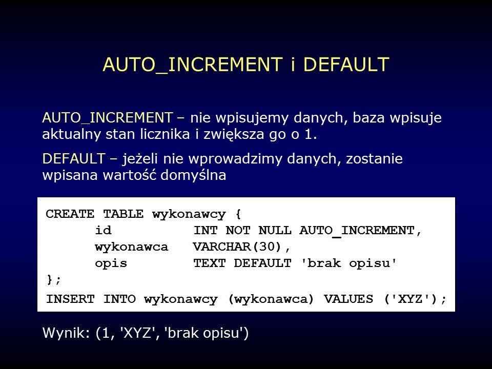 AUTO_INCREMENT i DEFAULT AUTO_INCREMENT – nie wpisujemy danych, baza wpisuje aktualny stan licznika i zwiększa go o 1.