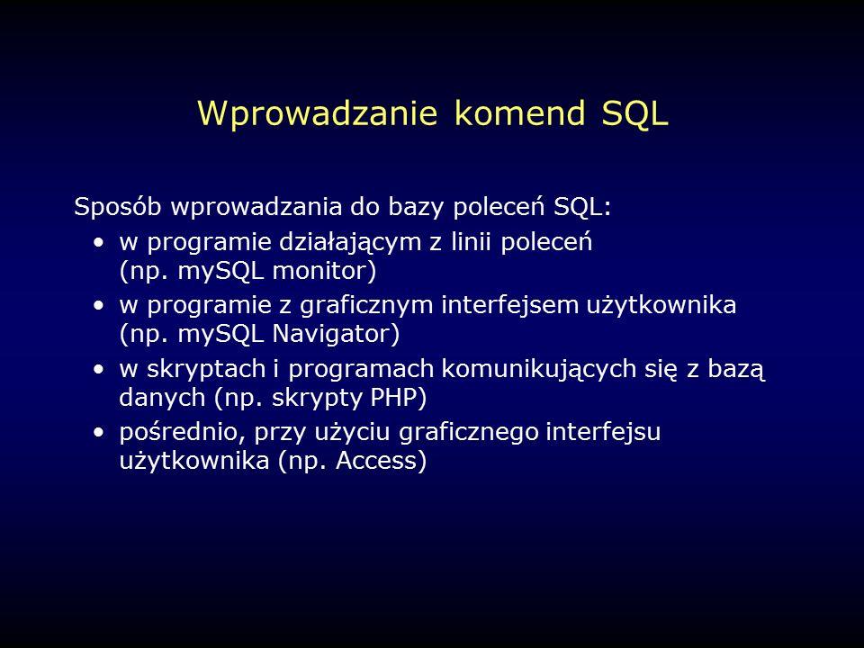 Inne funkcje (2) FORMAT(n,d) – formatuje liczbę n do d miejsc dziesiętnych VERSION() – wersja bazy danych MySQL CONNECTION_ID() – identyfikator połączenia BENCHMARK(n,wyr) – oblicza czas wykonania wyr (n razy) FOUND_ROWS() – liczba rekordów z ostatniego SELECT