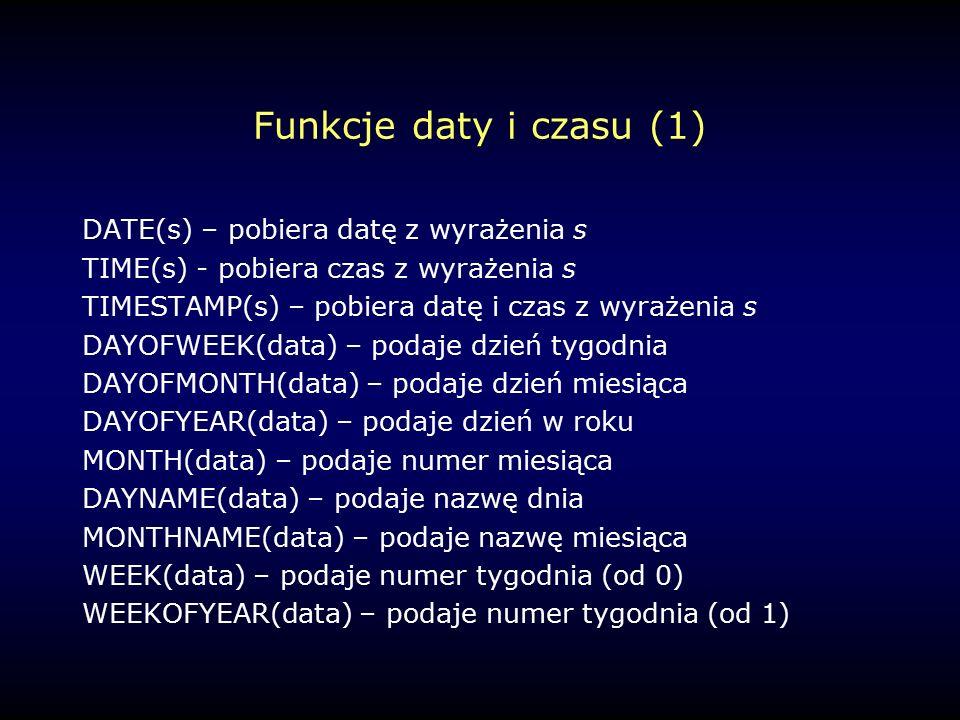 Funkcje daty i czasu (1) DATE(s) – pobiera datę z wyrażenia s TIME(s) - pobiera czas z wyrażenia s TIMESTAMP(s) – pobiera datę i czas z wyrażenia s DAYOFWEEK(data) – podaje dzień tygodnia DAYOFMONTH(data) – podaje dzień miesiąca DAYOFYEAR(data) – podaje dzień w roku MONTH(data) – podaje numer miesiąca DAYNAME(data) – podaje nazwę dnia MONTHNAME(data) – podaje nazwę miesiąca WEEK(data) – podaje numer tygodnia (od 0) WEEKOFYEAR(data) – podaje numer tygodnia (od 1)