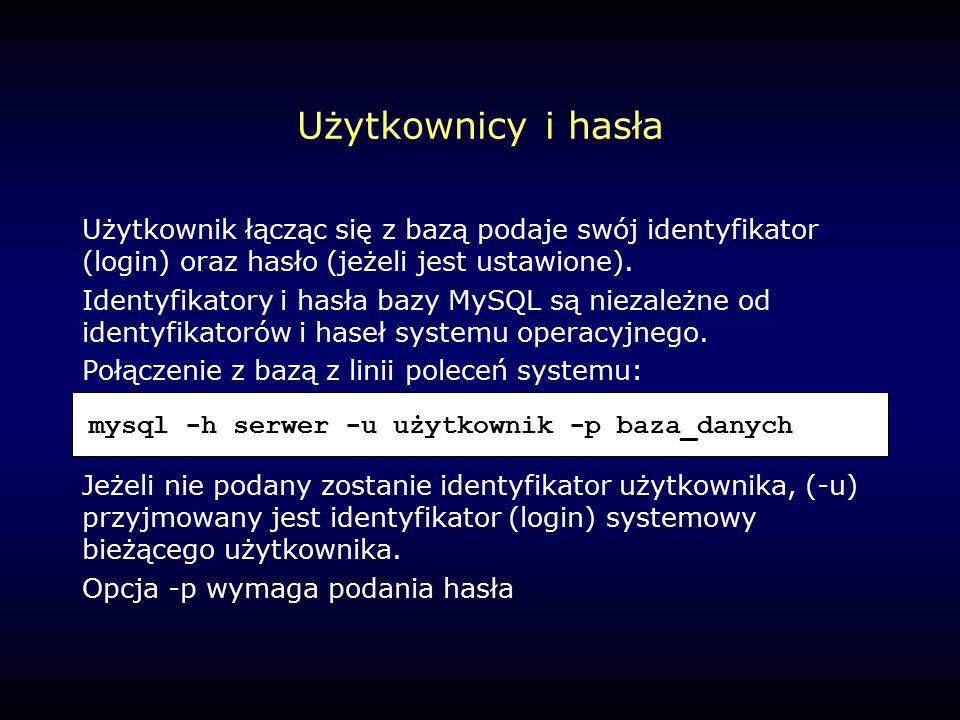 Użytkownicy i hasła Użytkownik łącząc się z bazą podaje swój identyfikator (login) oraz hasło (jeżeli jest ustawione).