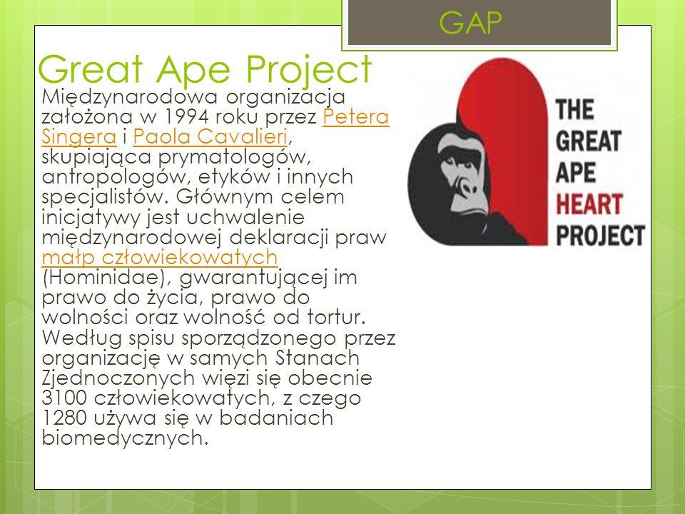 Great Ape Project Międzynarodowa organizacja założona w 1994 roku przez Petera Singera i Paola Cavalieri, skupiająca prymatologów, antropologów, etyków i innych specjalistów.