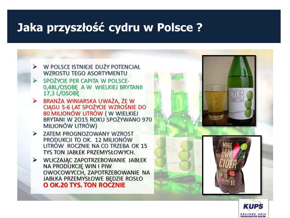 Jaka przyszłość cydru w Polsce ?  W POLSCE ISTNIEJE DUŻY POTENCJAŁ WZROSTU TEGO ASORTYMENTU  SPOŻYCIE PER CAPITA W POLSCE- 0,48L/OSOBĘ A W WIELKIEJ