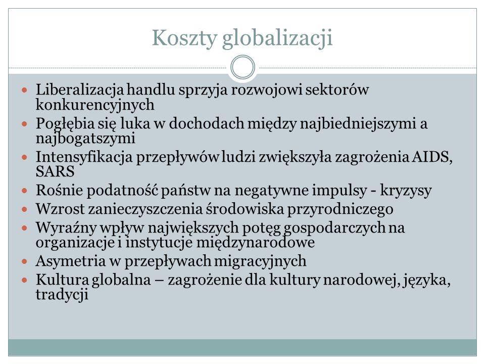 Koszty globalizacji Liberalizacja handlu sprzyja rozwojowi sektorów konkurencyjnych Pogłębia się luka w dochodach między najbiedniejszymi a najbogatsz