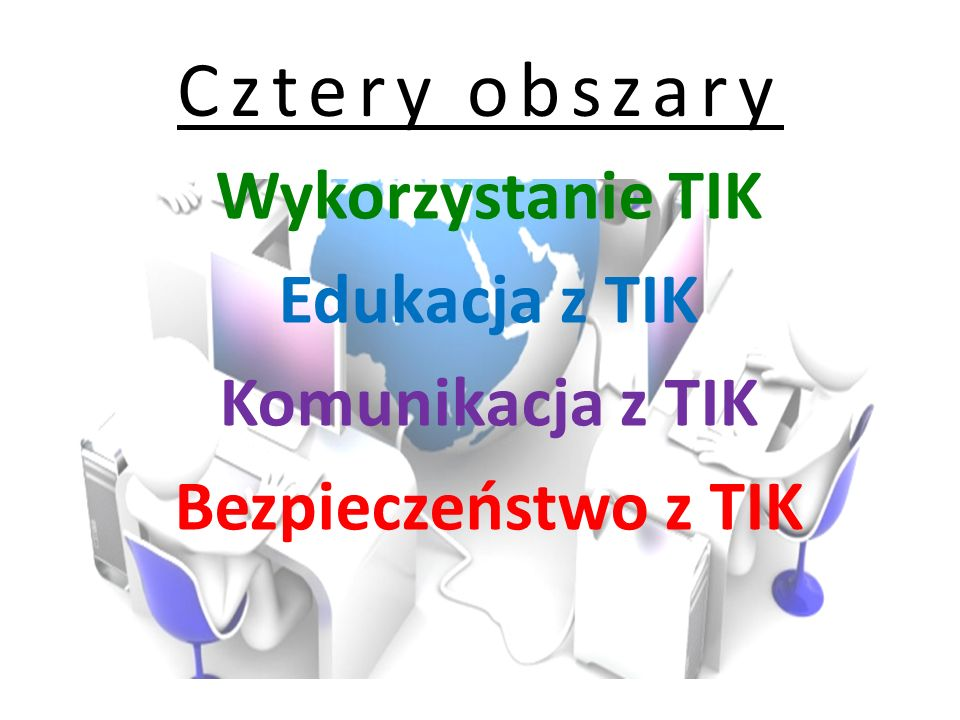 Cztery obszary Wykorzystanie TIK Edukacja z TIK Komunikacja z TIK Bezpieczeństwo z TIK