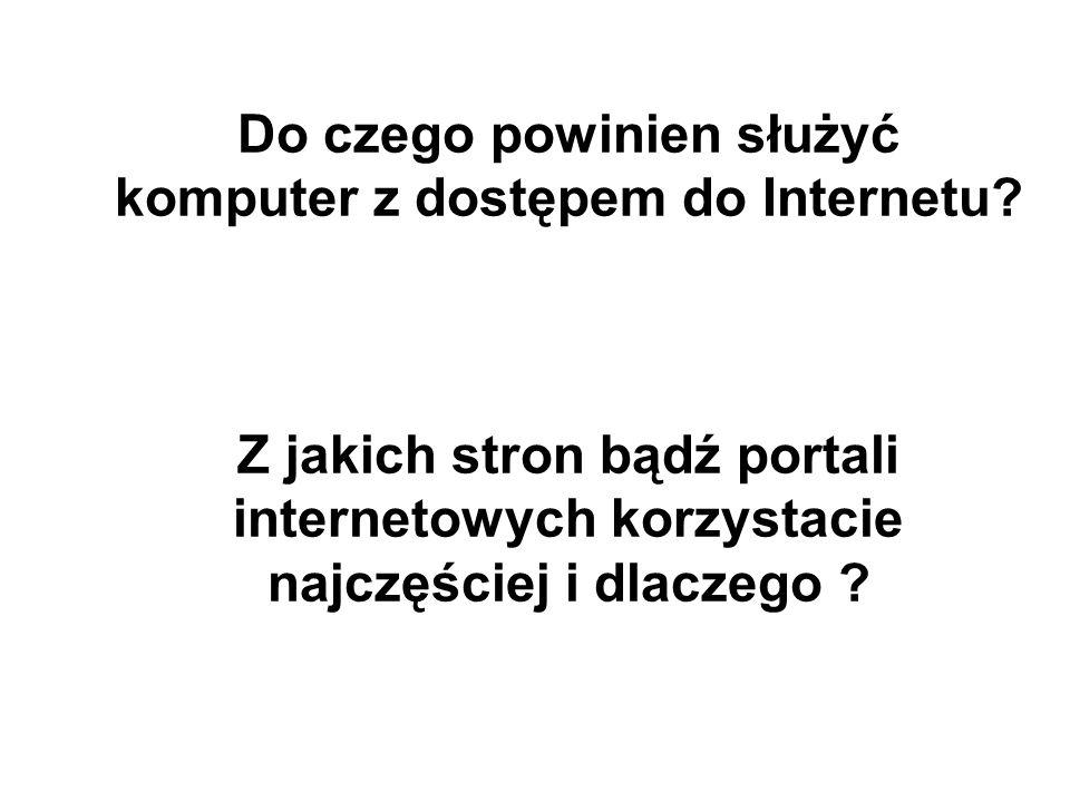 Co sprawia, że siadasz przy komputerze i wchodzisz do Internetu, co Cię do niego przyciąga najbardziej?