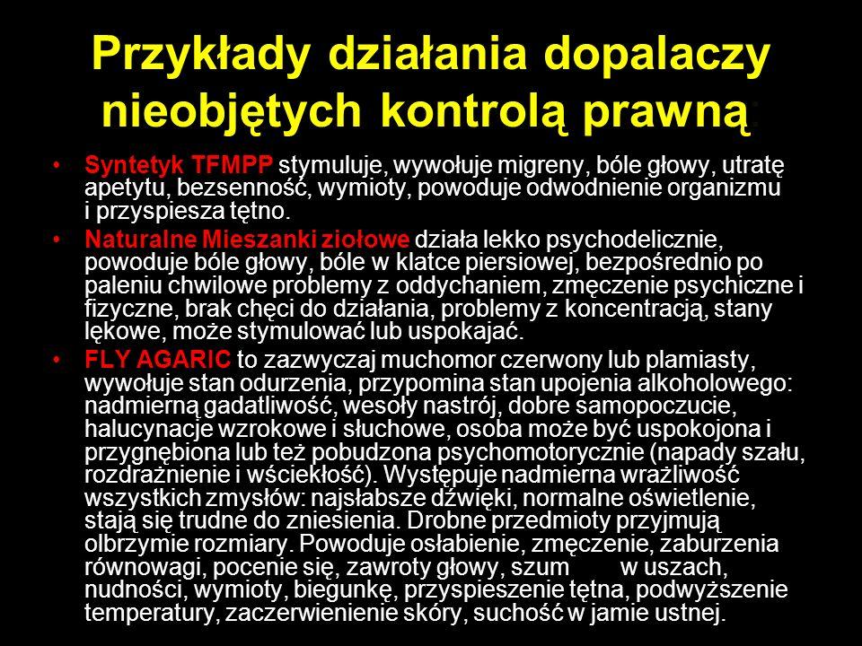 Przykłady działania dopalaczy nieobjętych kontrolą prawną: Syntetyk TFMPP stymuluje, wywołuje migreny, bóle głowy, utratę apetytu, bezsenność, wymioty, powoduje odwodnienie organizmu i przyspiesza tętno.