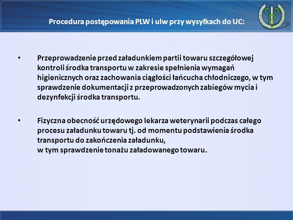 Procedura postępowania PLW i ulw przy wysyłkach do UC: Przeprowadzenie przed załadunkiem partii towaru szczegółowej kontroli środka transportu w zakre