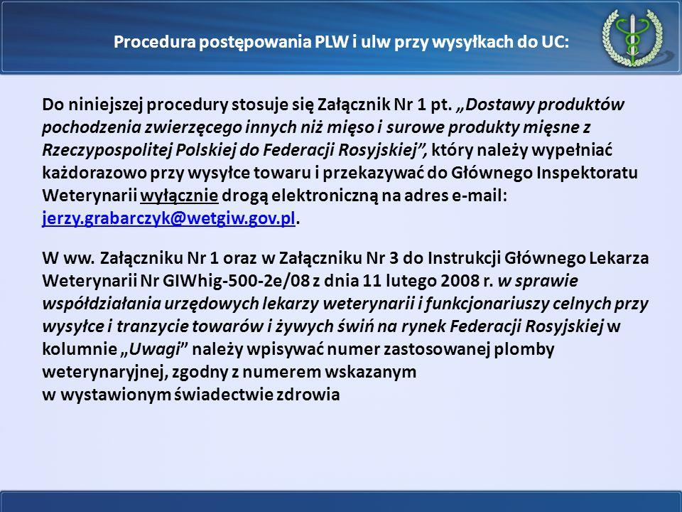 """Procedura postępowania PLW i ulw przy wysyłkach do UC: Do niniejszej procedury stosuje się Załącznik Nr 1 pt. """"Dostawy produktów pochodzenia zwierzęce"""