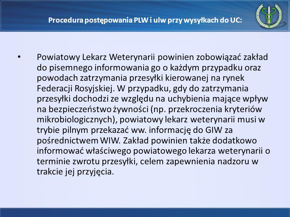 Procedura postępowania PLW i ulw przy wysyłkach do UC: Powiatowy Lekarz Weterynarii powinien zobowiązać zakład do pisemnego informowania go o każdym p