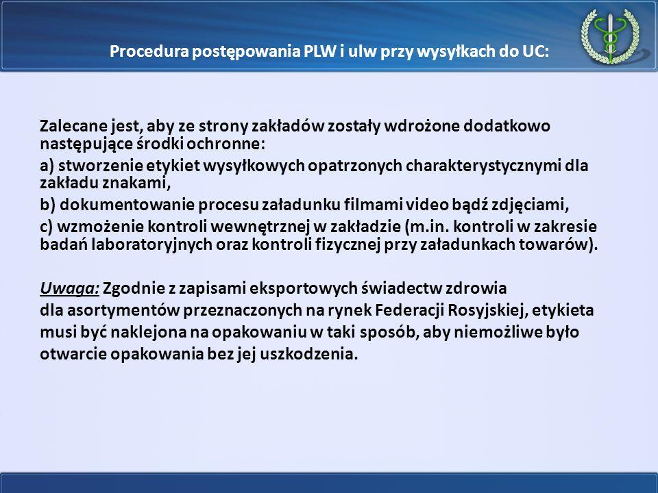 Procedura postępowania PLW i ulw przy wysyłkach do UC: Zalecane jest, aby ze strony zakładów zostały wdrożone dodatkowo następujące środki ochronne: a