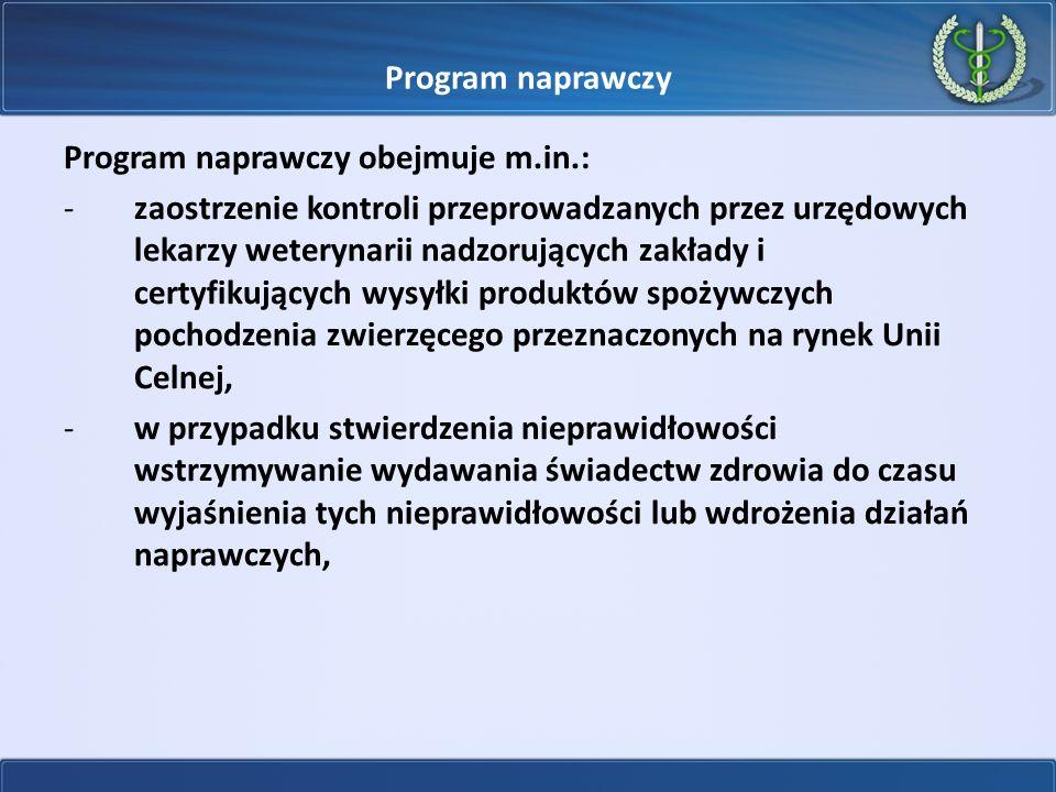 Program naprawczy Program naprawczy obejmuje m.in.: -zaostrzenie kontroli przeprowadzanych przez urzędowych lekarzy weterynarii nadzorujących zakłady
