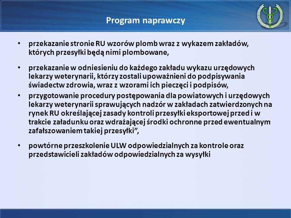 Program naprawczy przekazanie stronie RU wzorów plomb wraz z wykazem zakładów, których przesyłki będą nimi plombowane, przekazanie w odniesieniu do ka