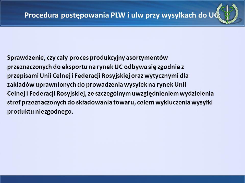 Procedura postępowania PLW i ulw przy wysyłkach do UC: Sprawdzenie, czy cały proces produkcyjny asortymentów przeznaczonych do eksportu na rynek UC od