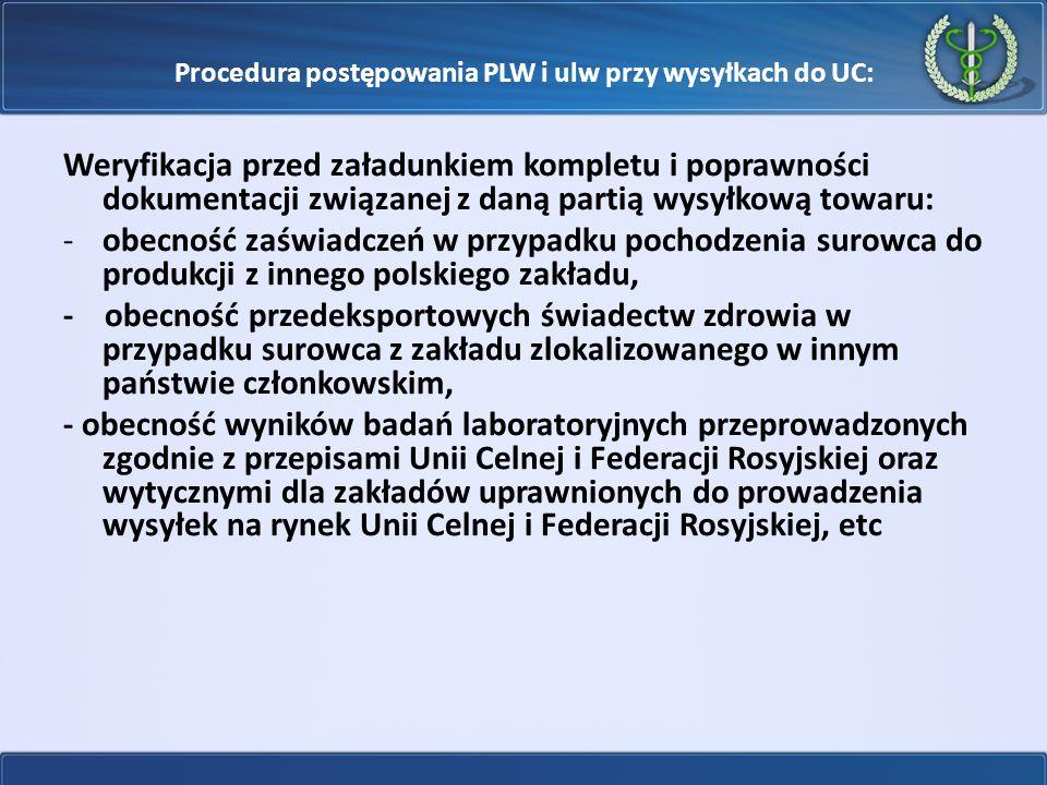 Procedura postępowania PLW i ulw przy wysyłkach do UC: Weryfikacja przed załadunkiem kompletu i poprawności dokumentacji związanej z daną partią wysył