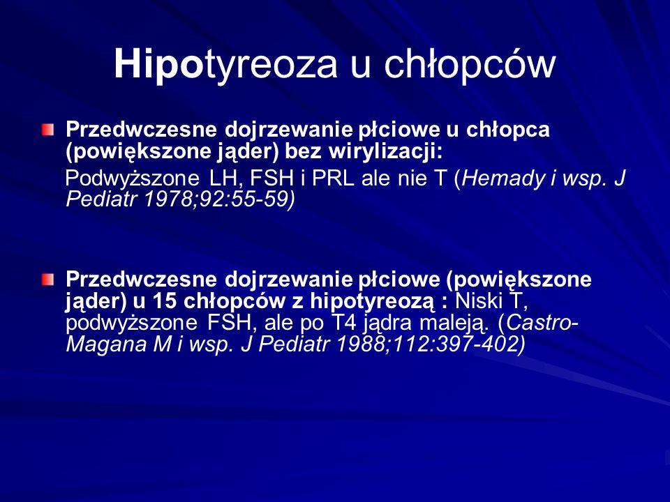 Hipotyreoza u chłopców Przedwczesne dojrzewanie płciowe u chłopca (powiększone jąder) bez wirylizacji: Podwyższone LH, FSH i PRL ale nie T (Hemady i wsp.