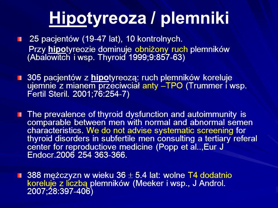 Hipotyreoza / plemniki 25 pacjentów (19-47 lat), 10 kontrolnych.