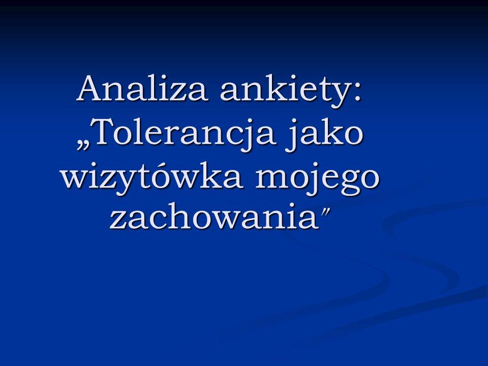 """Analiza ankiety: """"Tolerancja jako wizytówka mojego zachowania"""