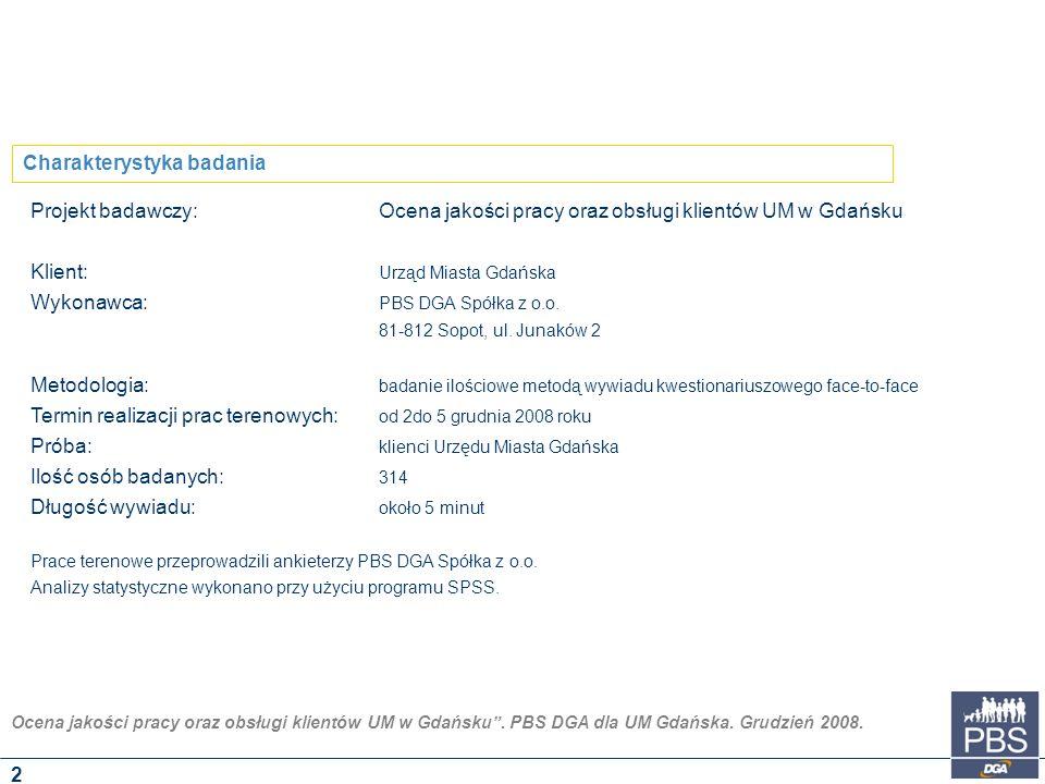 """Ocena jakości pracy oraz obsługi klientów UM w Gdańsku"""". PBS DGA dla UM Gdańska. Grudzień 2008. Projekt badawczy:Ocena jakości pracy oraz obsługi klie"""