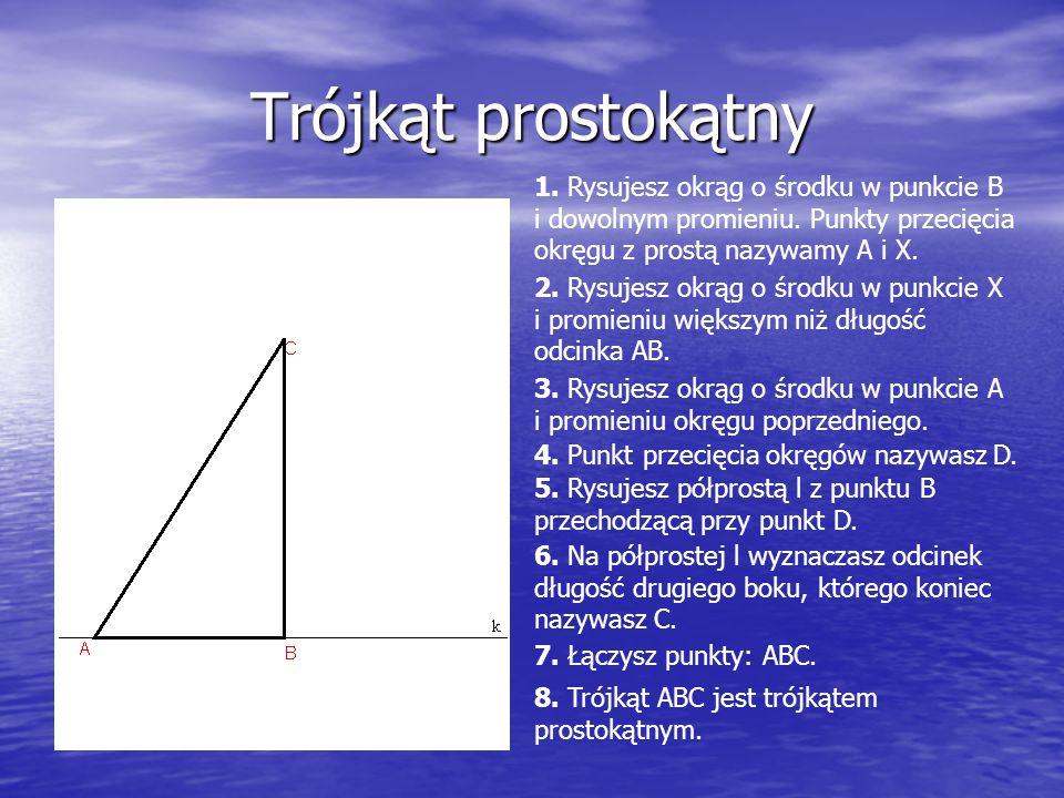 Trójkąt prostokątny 1. Rysujesz okrąg o środku w punkcie B i dowolnym promieniu.