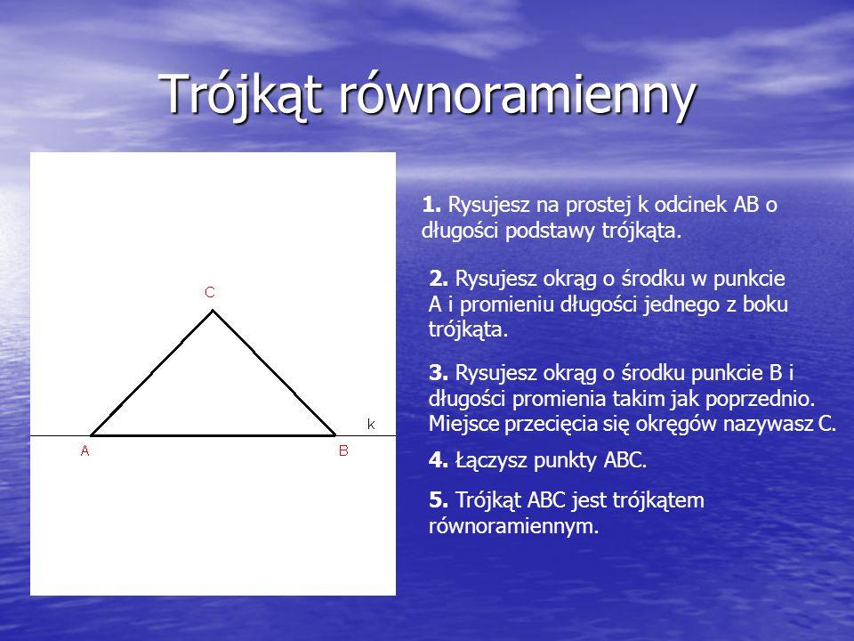 Trójkąt równoramienny 1. Rysujesz na prostej k odcinek AB o długości podstawy trójkąta.