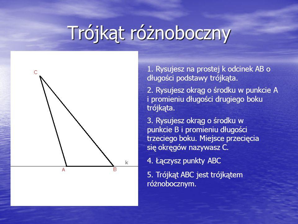Trójkąt różnoboczny 1. Rysujesz na prostej k odcinek AB o długości podstawy trójkąta.