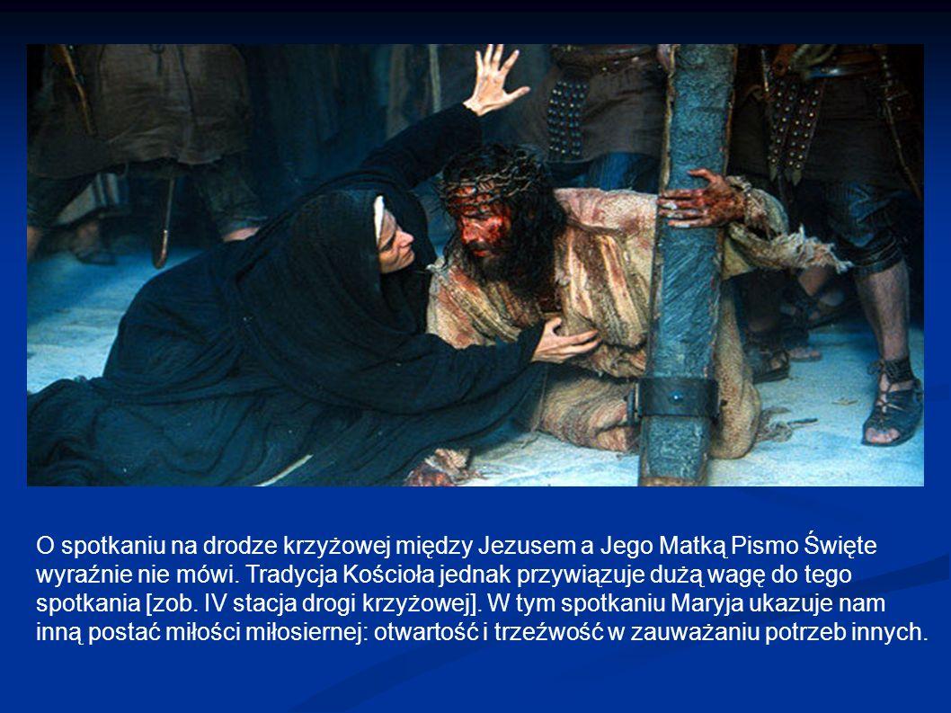 O spotkaniu na drodze krzyżowej między Jezusem a Jego Matką Pismo Święte wyraźnie nie mówi. Tradycja Kościoła jednak przywiązuje dużą wagę do tego spo
