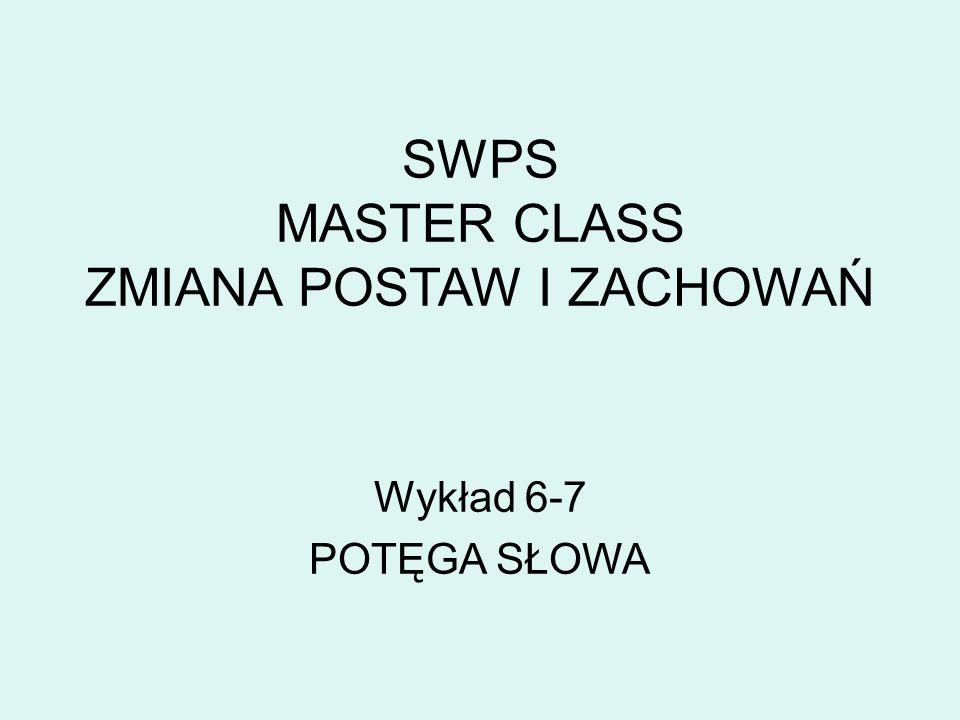 SWPS MASTER CLASS ZMIANA POSTAW I ZACHOWAŃ Wykład 6-7 POTĘGA SŁOWA