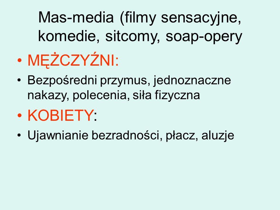 Mas-media (filmy sensacyjne, komedie, sitcomy, soap-opery MĘŻCZYŹNI: Bezpośredni przymus, jednoznaczne nakazy, polecenia, siła fizyczna KOBIETY: Ujawnianie bezradności, płacz, aluzje